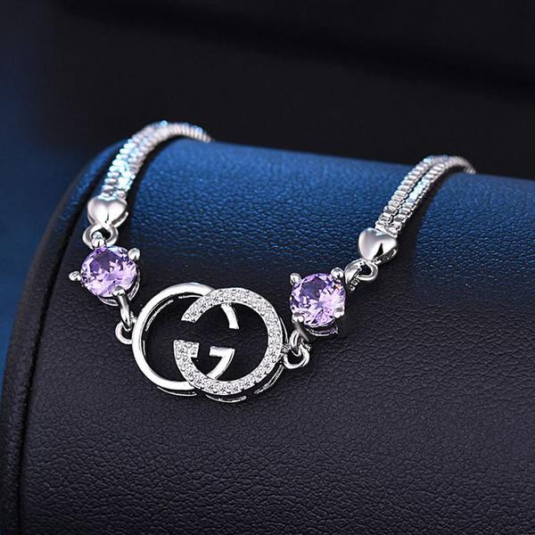 Lusso squisita doppia lettera G braccialetti per le donne dichiarazione di marca di moda braccialetto di cristallo gioielli partito regalo di natale