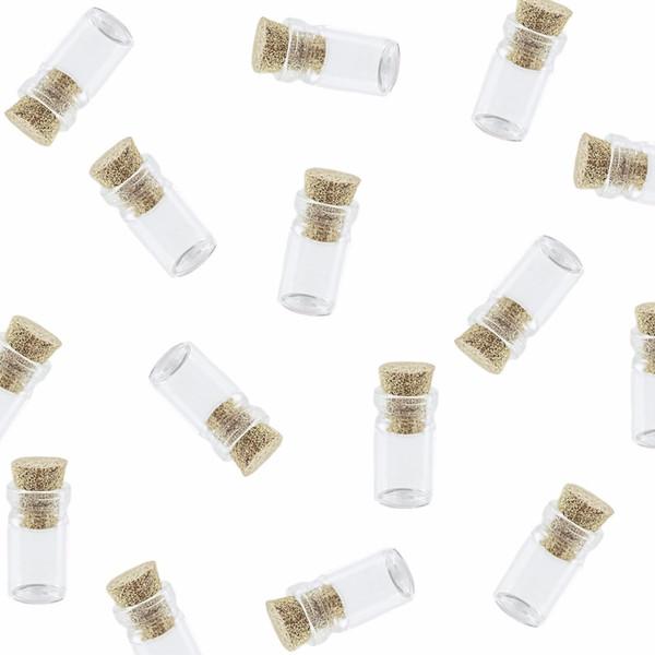50pcs mini minuscole bottiglie di vetro di sughero trasparente ciondolo vasi con tappi di sughero per arti decorative decorazione festa per la fabbricazione di gioielli