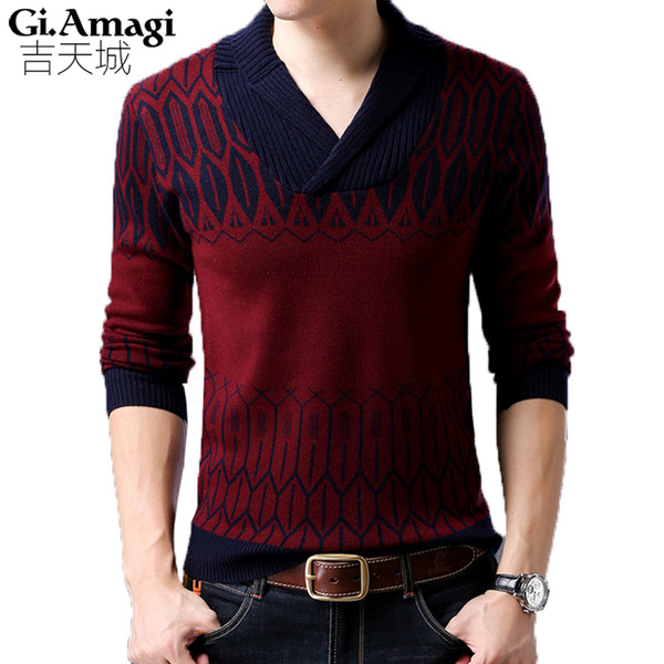 Moda Trend Jacquard Thick Sweater Hombre V Collar Hombres Pullover Casual Impreso Soft Wool Mens Sweater
