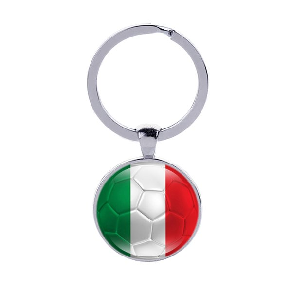 Italy Flag Football Keychains New Zealand Chile Ukraine Glass Cabochon Car Key Bag Accessories World Cup Countries Flags Keyrings Wholesale