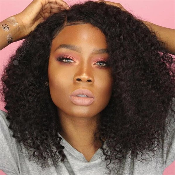 Remy Virgin Hair Lace Front Wigs With Baby Hair Brazilian Curly Glueless Full Lace Human Hair Wigs With Bangs For Black Women
