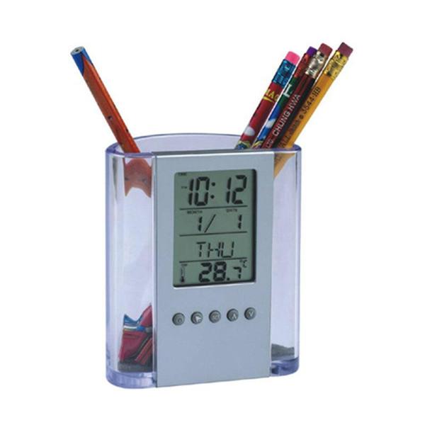 Multifunction Desktop Alarm Clock Electrical Pen Pencil Holder Vase Storage Case Container Digital Clock Home Office Decoration