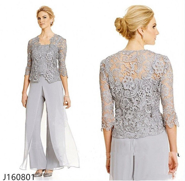 Classy Lace Mother Of The Bride Pant Suits With Jacket Chiffon Three Pieces Wedding Guest Dress Plus Size Mothers Groom Dresses