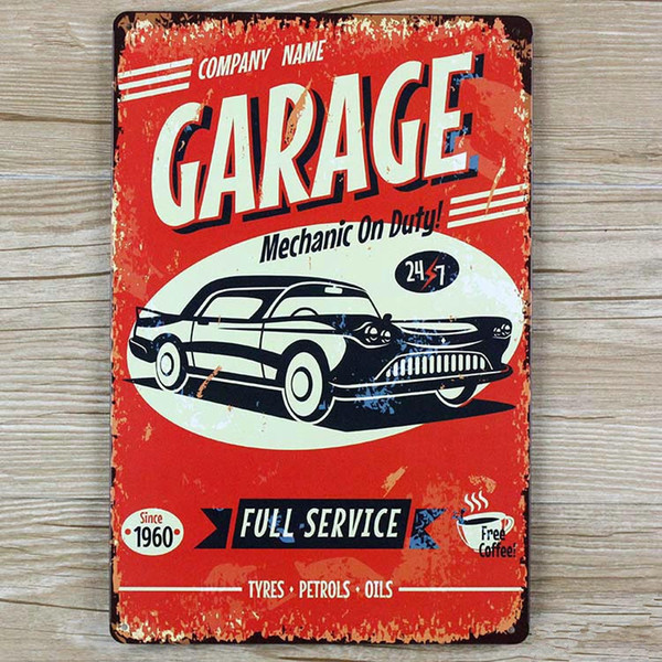 "Wholesale- wall pictures "" Garage Car here"" vintage metal signs House Cafe Restaurant Beer Poster for bar Metal Craft ART 20*30 CM"