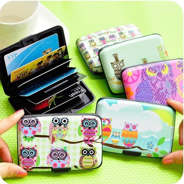Unisex women men baby cute cartoon plastic bank credit card bag lovely fashion owl ID card holder bags