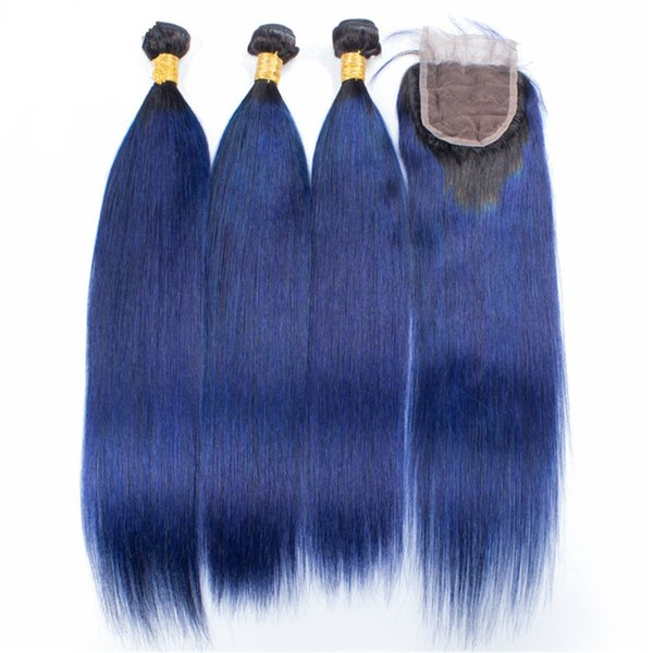 Silky Straight 1B Blue Hair Bundles With Lace Closure Brazilian Ombre Dark Blue Human Hair Weft 3Pcs With Top Closure Free Part