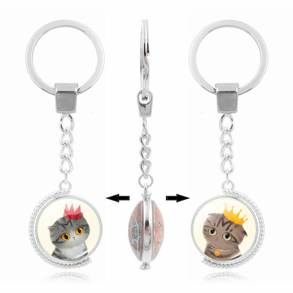 c649dd0a5d Double rotating cat pattern key chain Time Gem Cabochon key ring Rotate  jewelry great gift for