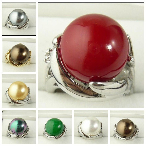 Wholesale 14mm South Sea shell pearl Bead Gemstone Jewelry Ring Size 6 7 8 9