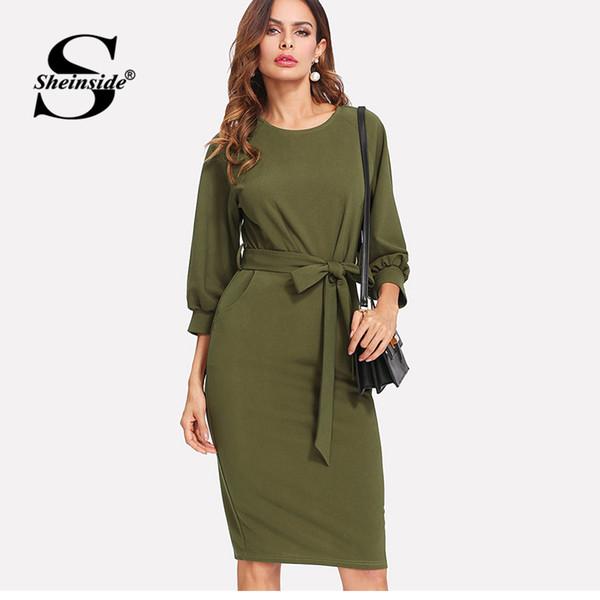 X Sheinside Armee grün Workwear bodycon Midi Kleid Büro Damen Langarm knielangen Gürtel Mantel Frauen Herbst elegantes Kleid