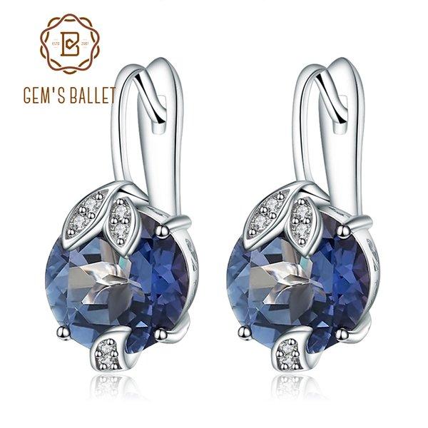 Gems Ballett 925 Sterling Silber Edlen Schmuck Mystic Quartz Iolite Blue Edelstein Wunderschöne Ohrringe Edlen Schmuck Für Frauen