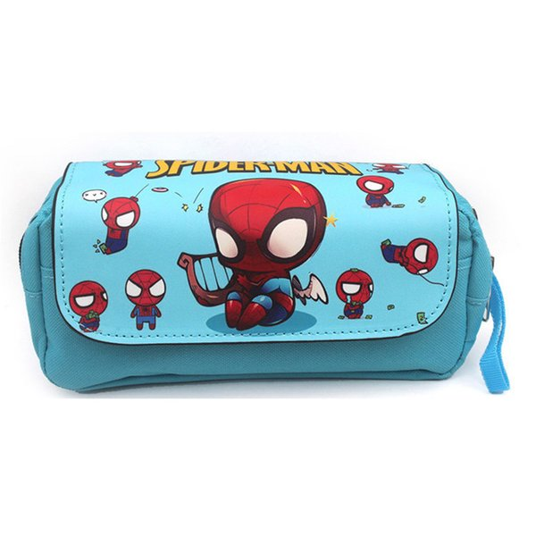 Cool Design Spider-Man Double Zipper Cosmetic Bags Stationery Pencil Case Bag for Pen Holder School Supply