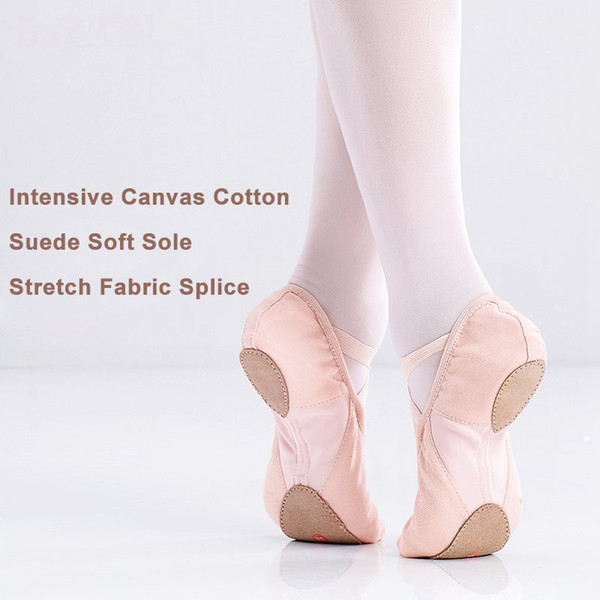 High Quality Girls Adult Cotton Canvas Flexible Ballet Dance Shoes Soft Sole Flat Shoes For Dance