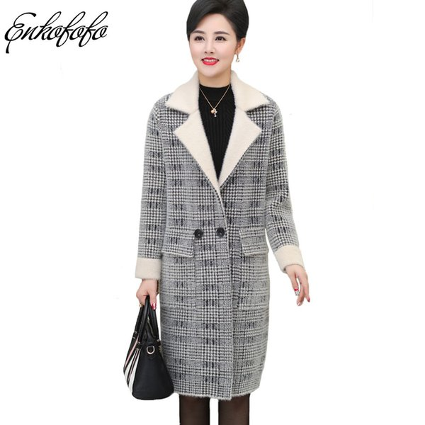 Real Mink Cashmere Jacket Female 2018 New Winter Women Loose Thick Plaid Sweater Ladies Middle Age Knitted Long Cardigan Coat
