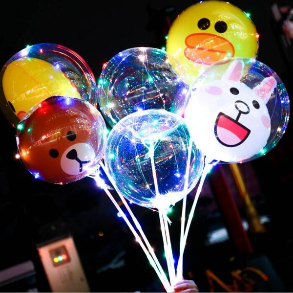 12 design LED balloon Night Flash Light Bobo Balloon Birthday Christmas Day DIY Decoration bear rabbit animal led balloon KKA3825