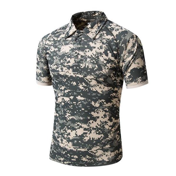 Camuflagem Pólo Camisa Dos Homens de Secagem Rápida Ao Ar Livre Caminhadas Camping Escalada de Montanha Trekking T-shirt Militar Caça Tees Camisa