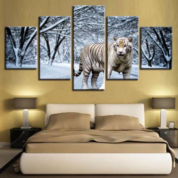 Acheter 5 Pieces Neige Foret Tigre Peinture Hd Impression Sur Toile Mur Art Groupe Photo Pour Le Dessin A La Maison Decor Interieur Affiche Sans Cadre