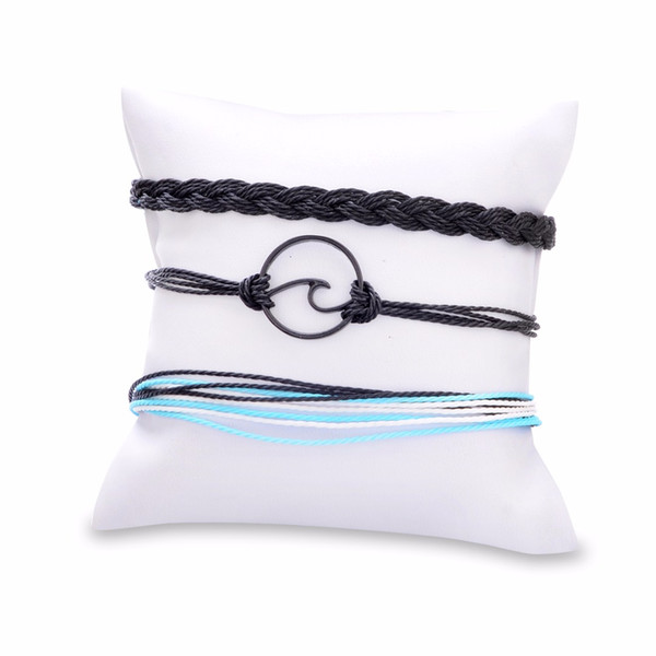 Bohemian Jewelry pulseiras Ethnical Wave Weave Rope Bangle Bracelet Multi-layer Adjustable Hand Chain Shellhard Trendy Accessory