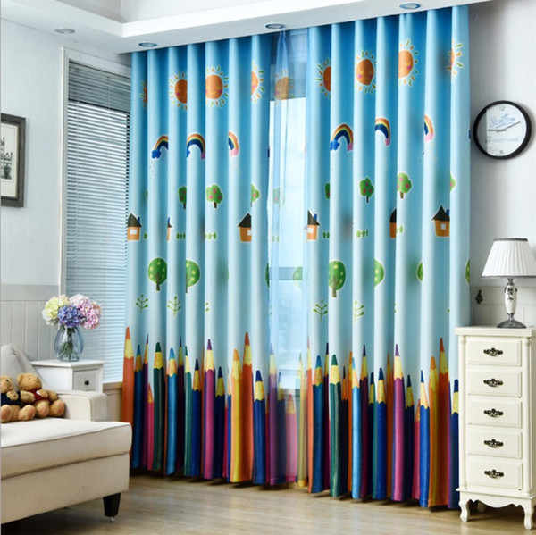 top popular Children Pencil Curtain Cartoon Printed Window Drapes Sheer Tulle Voile Curtains for Kids Living Room Bedroom Window Treatment 2020