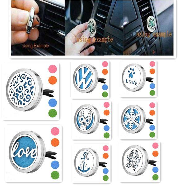 best selling Drop Ship Car Vent Clip Air Freshener Essential Oil Diffuser 316L Steel Locket essential Oil Car Diffuser Free 10Pads