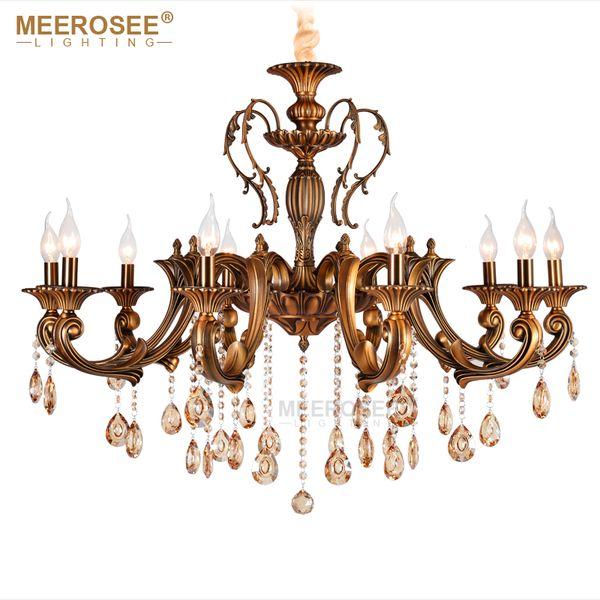 Vintage Kristall Kronleuchter Leuchte Für Esszimmer Foyer Messing Lüster de Cristal Luxus Pendelleuchte Innenbeleuchtung