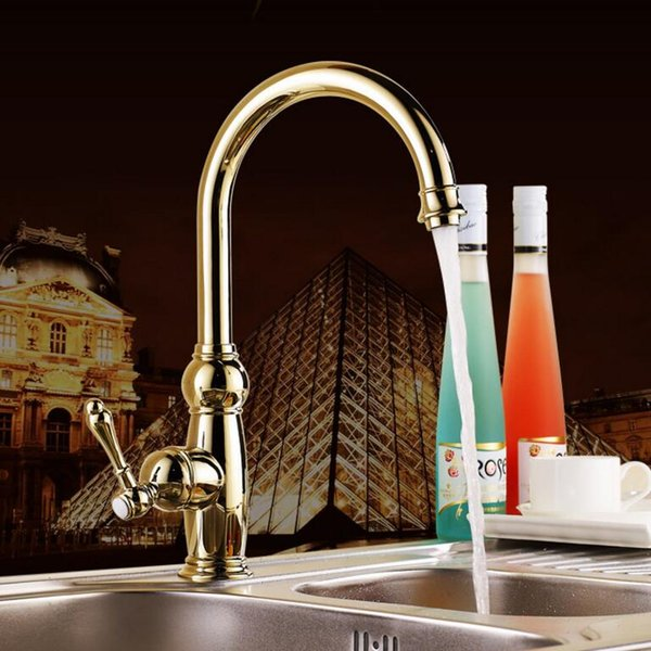 New Kitchen faucet Golden Copper cold and hot water tap Luxury Sink faucet Vegetable washing basin 360 degree rotating