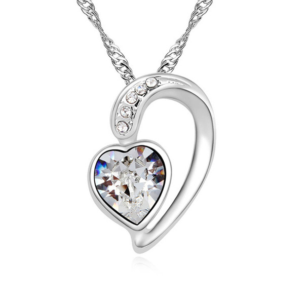 New arrival trendy heart design best Valentine Day gift for girl friend crystal statement necklace made with Swarovski elements