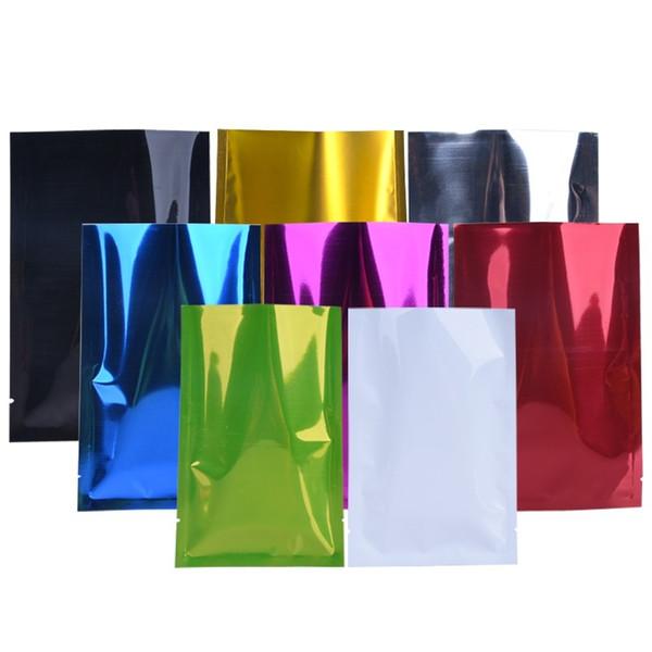 7 couleurs 6 taille Open Top en plastique plat en aluminium feuille sac chaleur sceller le sac d'emballage de stockage des aliments LX0222