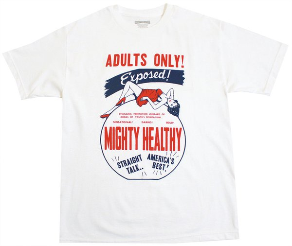 Mighty Healthy Adults Only T-Shirt Herren Weiß Streetwear T-Shirt Hochwertige Bedruckte Oberteile Hipster Tees T-Shirt