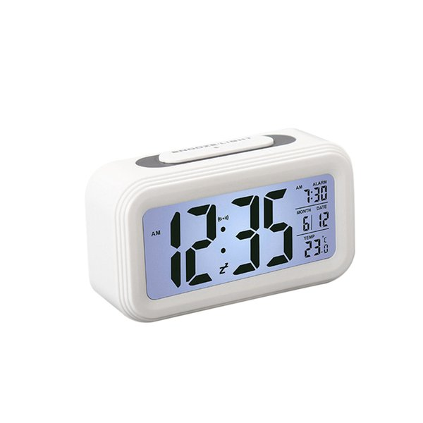 Creative Battery Operated LCD Temperature Display Nightlight Digital Alarm Clock (White)