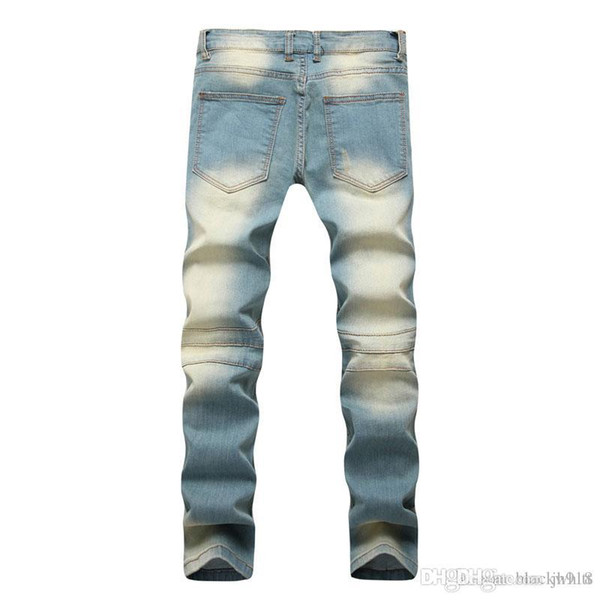 d5a75aa4508 con Hombres decorativos Nostalgia Hombres hombres   Arrastre de amarilla  Pantalones Agujero Jeans    pitillo S ...