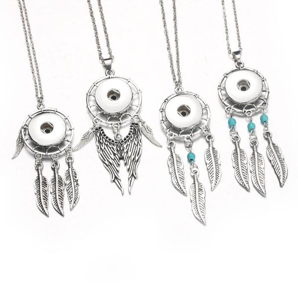 Monili di schiocco della collana del pendente dell'ala di collettore di sogno dei monili di schiocco di vita di 10pcs / Lot Boom (monili misura 18mm) monili delle donne