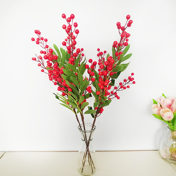 Red Artificial Foam Berries Home Decor Artificial Bunch Flowers Christmas Colorful Fruit Green Plant Berry Decorative Wedding