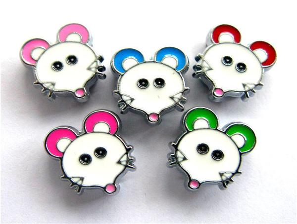 Prezzo all'ingrosso 50pcs-100pcs 8mm colore misto Mouse Charms per diapositive Accessori fai da te Può attraverso 8MM Wristband Bracciale catena chiave collari dell'animale domestico