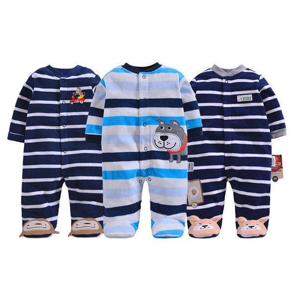 Baby pajamas winter fleece cute baby overalls warm newborn clothes infants romper toddler boys jumpsuit cartoon dog monkey