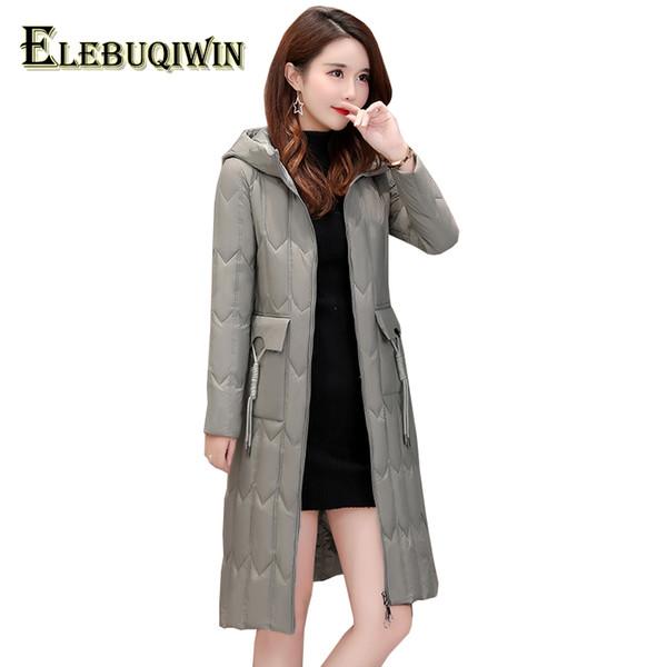 Lightweight Down Jacket Women Long Parka 2018 New Hooded Thicken Warm Outerwear Slim Plus Size White Duck Down Coats Female L529