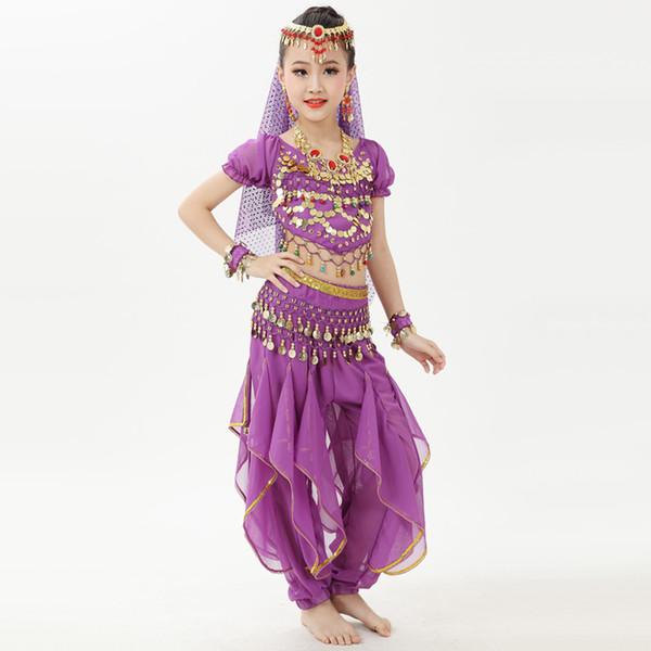 Gute Qualität Bauchtanz Kostüme für Mädchen Lila Rose Rot Blau Tops + Pant Set Sexy Kinder Feminine Kleidung Indische Anzug Q4004