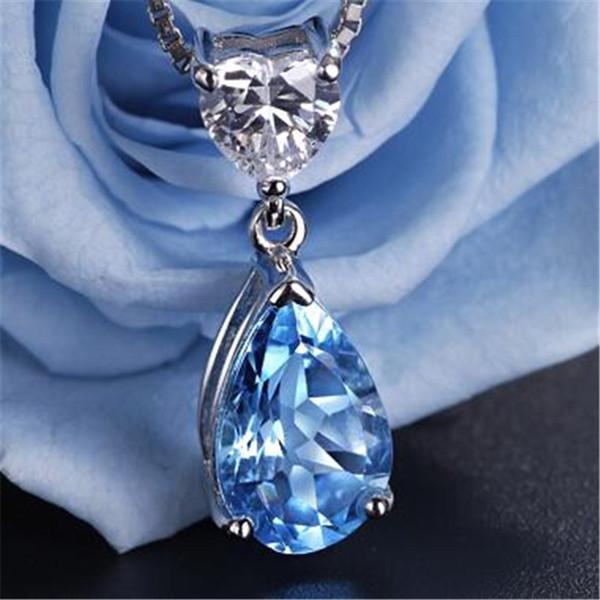 Silver S925 Sterling Fine Jewelry Pendant Heart & Water Drop Topaz Blue Gems Wedding  Bijoux Necklace Pendants No Chain