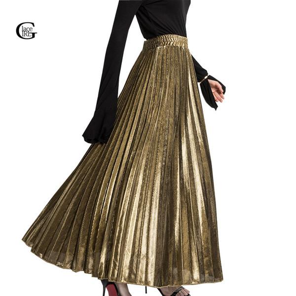 Lace Girl 2018 Printemps Plissé Longues Jupes Pour Femmes Jupe De Mode Or Argent Vintage Métallique Maxi Jupes Partie Formelle