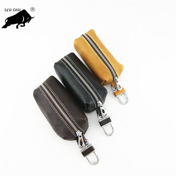Bolso para llaves de cuero multifunción para hombre colgando de la cintura bolsa para llaves de gran capacidad bolso para llaves de cuero para el carro hembra práctico simple mini