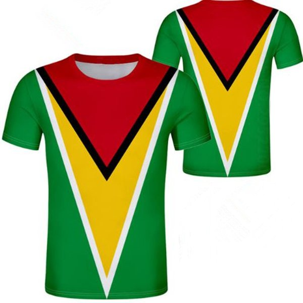 fe6373424eb4 Guyana Unisex youth student boy custom made name number t shirt National  flag personality trend wild