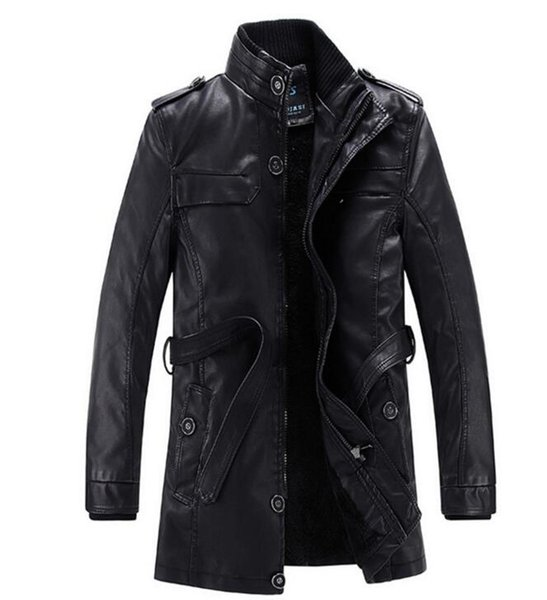 New casual leather men's stand collar fashion long section leather windbreaker PU leather wash men's coat