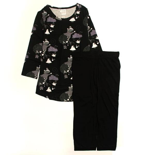 1217fbf073 women pajamas sets cotton modal spring o-neck 3 4 sleeve mid-calf pant  loungewear ladies autumn black purple cartoon babydoll pyjamas suits