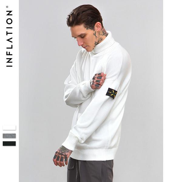 INF Männer 2018 Herbst und Winter Hip Hop neue Mode Gezeiten Marke Militär Stil Armband Volltonfarbe hoher Kragen Baumwolle Pullover beiläufige Strickjacke