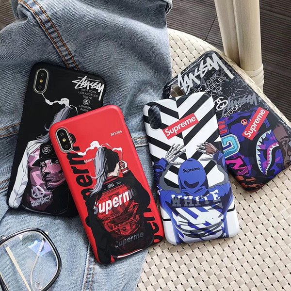 Graffiti Camouflage Shark Soft Phone Cover Camo Impreso Letter White Stripe Back Case Protector de calavera para iPhone XS Max XR 6s 7 8