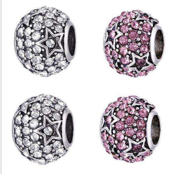 Wholesale 30pcs Star paved Crystal Charm Sterling Silver European Charms Bead Big Hole Fit Pandora Bracelets Snake Chain Fashion DIY Jewelry