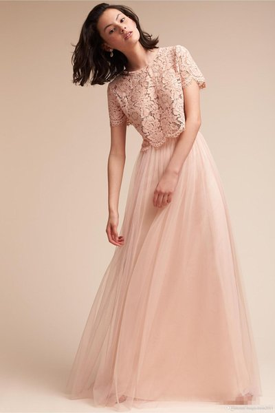 2019 Blush Pink Two Piece Bridesmaid Dresses Lace Top Short Sleeves A Line Tulle Maid Of Honor Gowns Cheap Wedding Guest Dresses