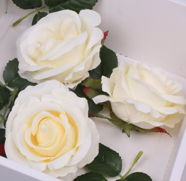 Artificial Silk Head Flowers Rose Flower Wedding For Hair Band, Pin, Brooch (white)