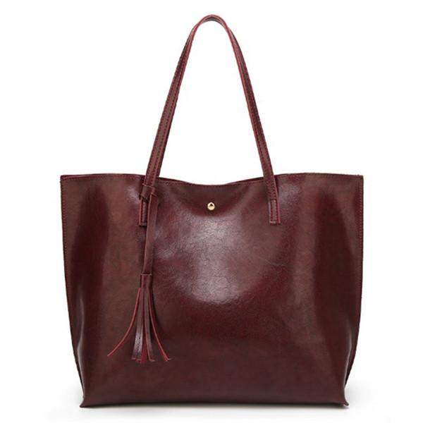 Oil Wax Women Leather Handbags Lady Large Tote Bag Female Pu Shoulder Bags Bolsas Femininas Sac A Main Brown Black Red Tassel