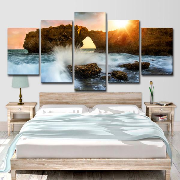 5 pezzi impostazione sole mare onda sferzato contro le rocce casa decorazione della parete immagine su tela arte HD stampa pittura su tela opere d'arte