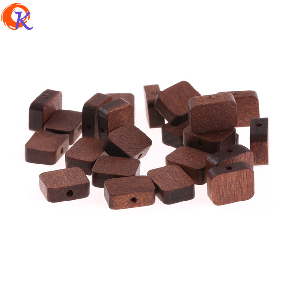 wholesale 400Pcs 10*12MM Jewelry Accessories/Wood Beads/Environmental Paint/Square Shape/DIY/Hand Made/Earring Findings
